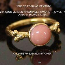 ** FREE SIZING ** OMER 24K YELLOW GOLD OVER SILVER HANDMADE STACK RING W/ CORAL