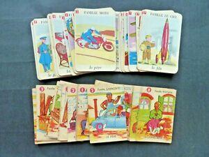 """2 Anciens Jeux de cartes 7 Familles """" Voyages Locomotions Metiers """" 1950 complet"""