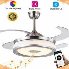 """42"""" Retractable Ceiling Fans with Lights Bluetooth Play Music 7Colorful W/Remote"""