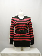 Womens Sweater PLUS SIZE 1X EYE CANDY Pink Striped Belted V Neck Snug Fitting