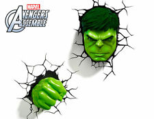 Marvel AVENGERS Incredible HULK FIST & HEAD 3D FX Deco Wall LED Night Light Set