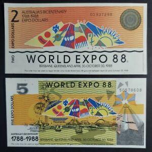 💵 1988  Australia World Expo 88 $2 & $5 - UNC