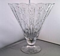 Vintage Cut crystal fan shape with scollop sides Vase