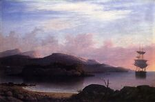 Art Oil painting Fitz Hugh Lane - Off Mount Desert Sail Boats in Sunset canvas