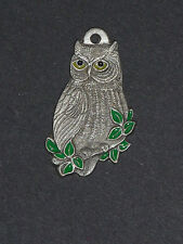 Vintage Owl 1982 Rawcliffe Pewter I <3 Heart Love Owls Colored Pendant