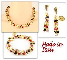 Authentic Italian Made Venetian Murano Jewelry Set: Necklace Earrings Bracelet