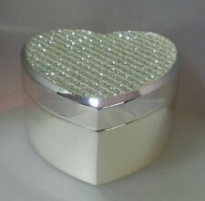 "WHITEHILL  STUDIO  ""SILVER GLITTER HEART TRINKET BOX"" WP1909 MINT ITEM BOXED"