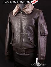 WINTER BOMBER Brown Men's Aviator Leather Jacket Fur Collar Real Skipper Cowhide