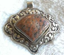 Nepalese Large Silver Plated Stone Pendant For Necklace