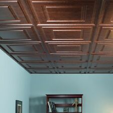 Fasade - Raised Coffer 2ft x 2ft Walnut Lay In Ceiling Tile (L85-33)