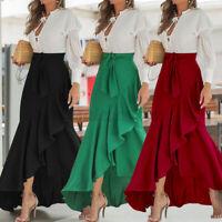 Women Summer Beach Party Long Maxi Skirt High Waist Flare Swing Ruffle Dress NEW