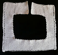 "Antique Victorian handmade crochet lace collar steampunk Edwardian square 25.5"""