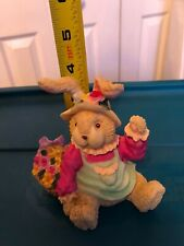 Bunny Figurine In Hat With Flowers