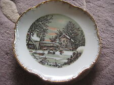 CURRIER & IVES THE OLD HOMESTEAD IN WINTER, THE FARMER'S HOME WINTER PLATE