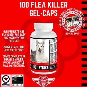 Flea Killer 100 gel-caps easy to use applications for Dogs 57mg