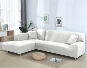 Solid Color Sofa Covers Elastic Spandex Corner Couch Cover Stretch Slipcovers