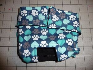Teal Flannel Paws Hearts Female Dog Diaper Panty Carols Crate Covers