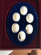 Franklin Mint Royal Family 6 Sterling Silver Cameos-Queen Elizabeth II- Philip