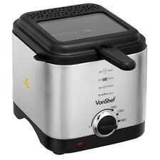 VonShef Deep Fat Fryer 1.5 Litre Chip Pan Basket Non Stick Oil Fry 900W Compact