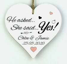 PERSONALISED ENGAGEMENT GIFT Present 12CM Wood Heart Plaque Gift She Said Yes