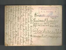1945 Prague to Germany Dachau Concentration Camp Postcard Cover Radovan Drazan