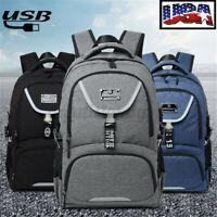 Men Women USB Port School Backpack Laptop Notebook Bag Satchel Travel Rucksack