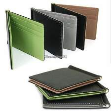 Synthetic Leather Mens Wallet Card Purse Pockets Ultra-thin Wallets Money Clip