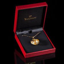 Yves Camani Damen Collier Anhänger Glas Herz Mit 999.9 Gold Kette Neu