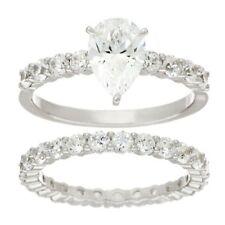 QVC Diamonique Ring Cubic Zirconia Pear Cut 2-Piece 100-Facet Platinum Size 5