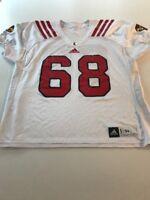 Game Worn Used Louisville Cardinals UL Football Jersey Adidas Size 54 #68