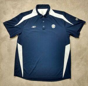 Reebok Play Dry Pittsburgh Penguins Mens NHL Hockey Polo Shirt Navy Blue Size XL