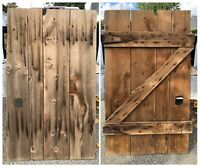 "Antique Primitive Wood Barn Door Early 1900s Measures 70""x42"" W/ Orig Hardware"