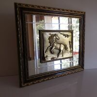 Mirror Painting Horse Craft Italy Vintage Art Deco Design Pn France N2719