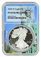 2020 W Silver Eagle Proof NGC PF69 Ultra Cameo - Statue Of Liberty Core