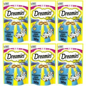 6 x Dreamies Mix Cat Treats Salmon & Cheese 60g Dual Texture Biscuit Snack 2kcal