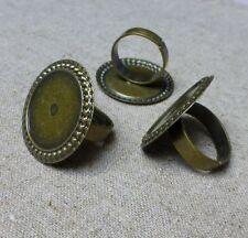 Antique Bronze Ring élément Réglage base - 10 pcs