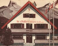 VINTAGE 1964 NEW YORK WORLDS FAIR LE CHALET RESTAURANT MENU SWITZERLAND PAVILION