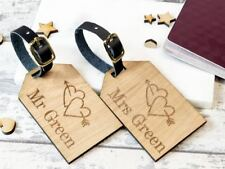 2pcs Personalised Wooden Luggage Tag Mr and Mrs Heart Arrow Double Sided