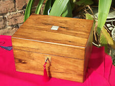 More details for honey rosewood vanity box with contents and side drawer