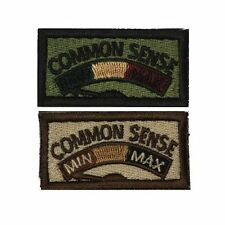 Common Sense Self-Adhesive Morale Funny Slogan Gift Patch Olive and Tan 1x2in