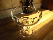 Vintage Clear Glass Pedestal Compote/Bowl with Scalloped Rim *EVC*