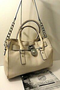 Michael Kors Hamilton Leather Tote Shopper Shoulder Purse Bag Lock Tag Charm