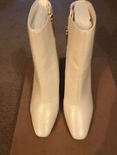 RIVER ISLAND White Textured Heeled Boots UK 5