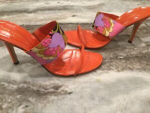 Kate Spade Magic Sandal in Chocolate Paisley and Orange .  9.5 M.