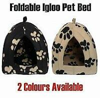 Pyramid Pet Hut Black Beige Soft Pet Bed Cosy Machine Washable Polyester Pad