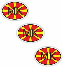 3x Oval Black /& White Stickers Macedonia Small Country Code Tablet phone Case