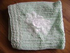 New Hand Knitted Mint Green Baby Cot/Crib/Pram Blanket