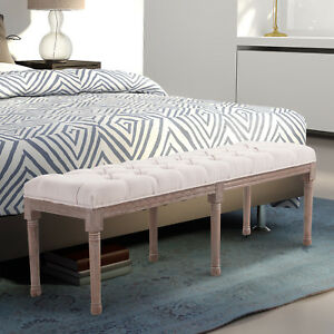 HOMCOM Bed End Stool Bench 142cm Chic Button Tufted  Bedside Seat End Hallway