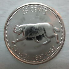 1967 CANADA 25 CENTS PROOF-LIKE SILVER QUARTER COIN