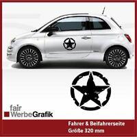 Aufkleber / Stern / Army / Fiat 500 / Dekor